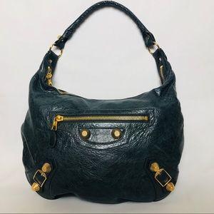 Balenciaga Aquamarine Leather Hobo Handbag